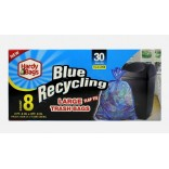 Wholesale 30GAL BLUE RECYCLING TRASH BAG 8CT-24-CS
