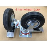 "Wholesale 5"" Swivel Caster with Brake Wheels Rubber Base with Top Plate & Bearing Heavy Duty"