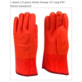 "Wholesale Safety Orange 12"" Long PVC Gloves waterproof"