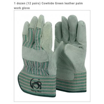 Wholesale Cowhide Green leather palm work glove